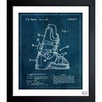 Oliver Gal 'Ski Boots 1982' Framed Blueprint Art