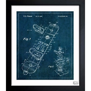 Oliver Gal 'Snowboard 2003' Framed Blueprint Art