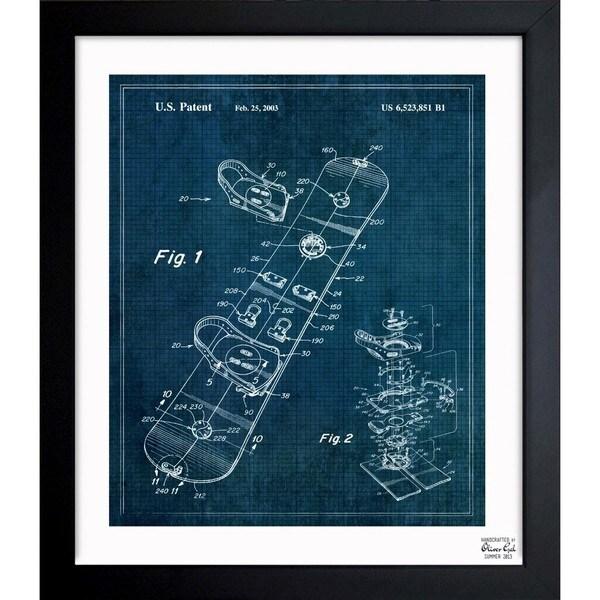 Oliver Gal 'Snowboard 2003' Framed Blueprint Art