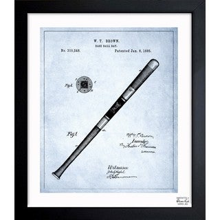 Oliver Gal 'Baseball Bat 1885 - Light Blue' Framed Blueprint Art