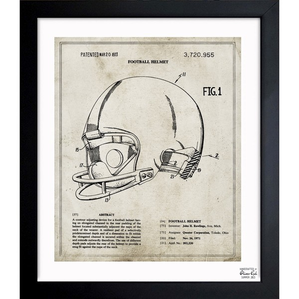 Oliver Gal 'Football Helmet 1973' Framed Blueprint Art