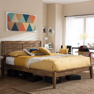 Baxton Studio Khristos Mid-century Modern Solid Walnut Wood Window-Pane Style Platform Bed