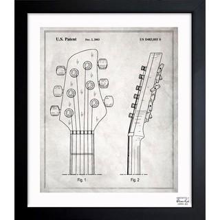 Oliver Gal 'Head Stock Of Guitar 2003' Framed Blueprint Art