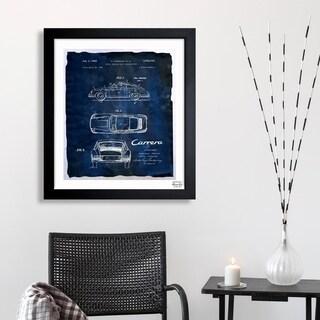 Oliver Gal 'Carrera Porsche 1962 - Bleu' Framed Blueprint Art