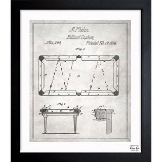 Oliver Gal 'Pool Table 1856' Framed Blueprint Art
