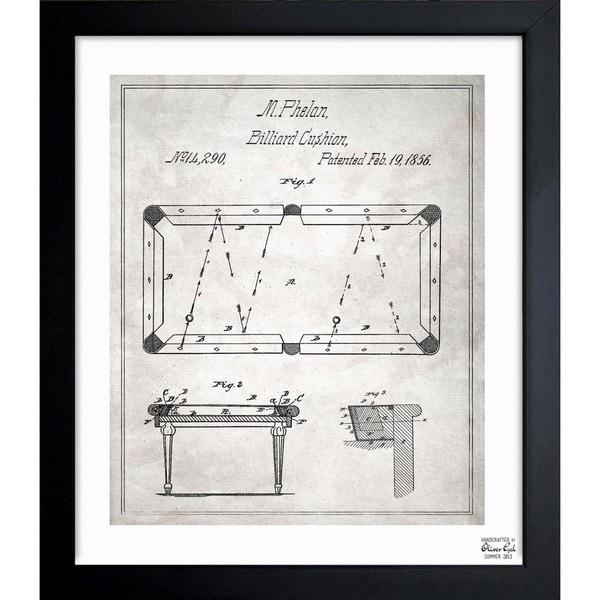 Shop Oliver Gal Pool Table Framed Blueprint Art On Sale - Pool table blueprints