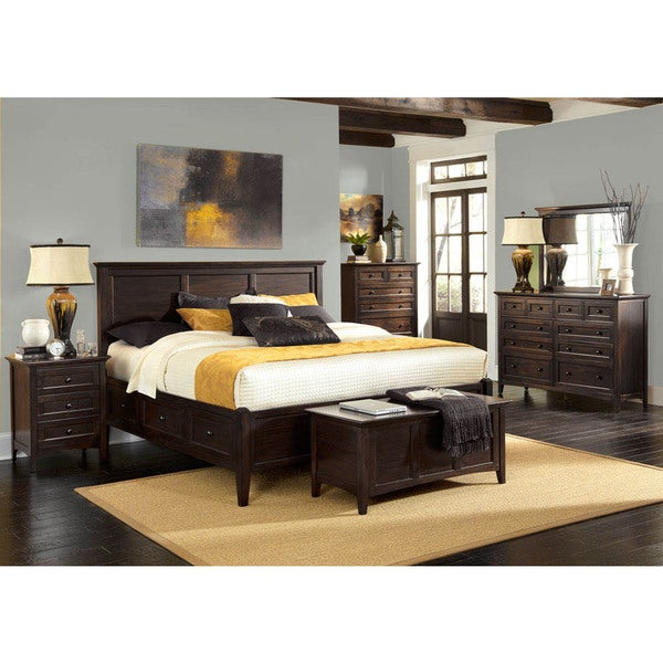 shop simply solid garrett solid wood 6 piece queen bedroom collection free shipping today. Black Bedroom Furniture Sets. Home Design Ideas