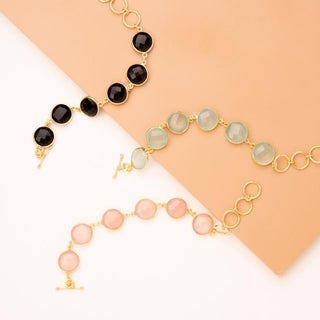 Gold Overlay Black Onyx 6 Gemstone Bracelet