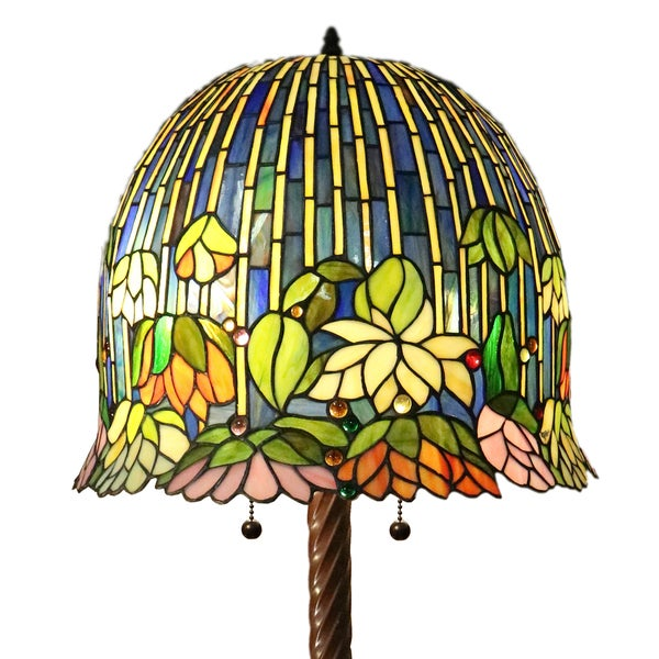 Shop nicha 2 light water lily 62 inch multicolor tiffany style floor nicha 2 light water lily 62 inch multicolor tiffany style floor lamp aloadofball Image collections