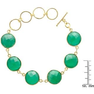 Gold Overlay Green Onyx 6 Gemstone Bracelet