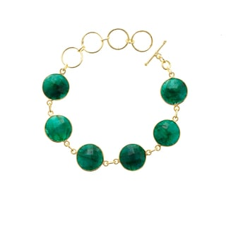 Gold Overlay Emerald Gemstone Bracelet