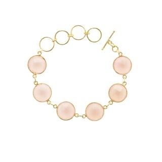 Gold Overlay Pink Chalcedony 6 Gemstone Bracelet