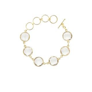 Gold Overlay Quartz 6 Gemstone Bracelet