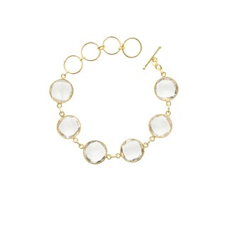 Gold Overlay Quartz 6 Gemstone Bracelet