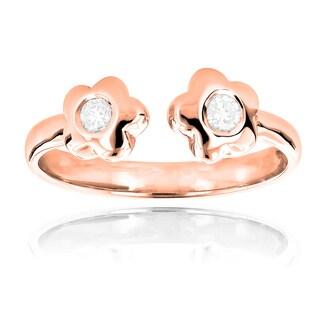 Luxurman 14k Gold Diamond Accent Adjustable Flower Toe Ring (Option: Rose)