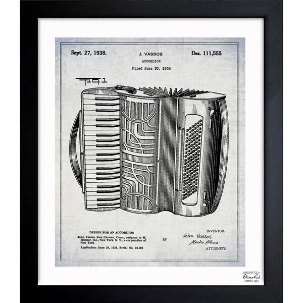 Oliver Gal 'Accordion 1938' Framed Blueprint Art