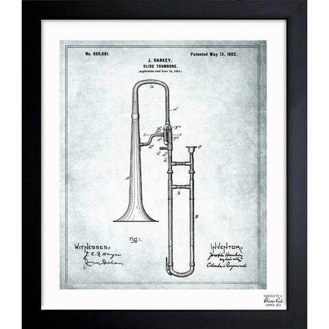 Oliver Gal 'Trombone Musical Instrument 1902' Framed Blueprint Art