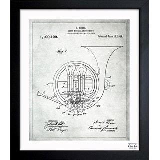 Oliver Gal 'French Horn Musical Instrument 1914' Framed Blueprint Art