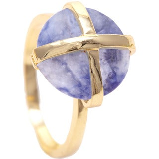 Gold Overlay Sodalite Gemstone Ring (Size 8)