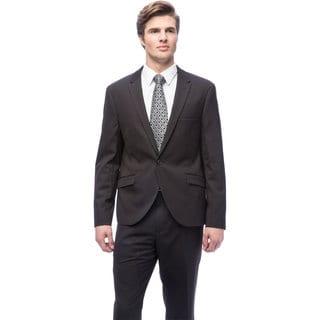 West End Men's Young-look Slim-fit Black Peak Lapel 1-button Suit