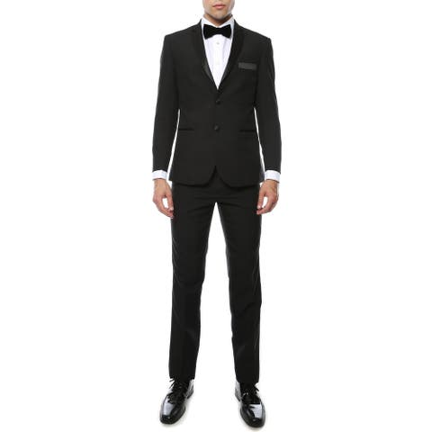 Ferrecci Men's Paul Lorenzo 1969 2-piece Black Slim Fit Tuxedo