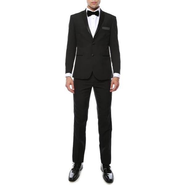 Ferrecci Mens Paul Lorenzo 1969 2-piece Black Slim Fit Tuxedo