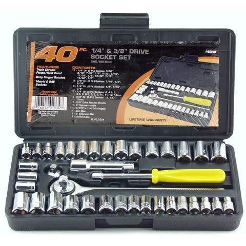 "Great Neck PS040 1/4"" & 3/8"" Drive Sockets Standard & Metric 40 Piece Set"