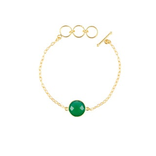 Alchemy Jewelry Handmade Ethical 22k Gold Overlay Green Onyx Precious Gemstone Bracelet with Adjustable Toggle Clasp