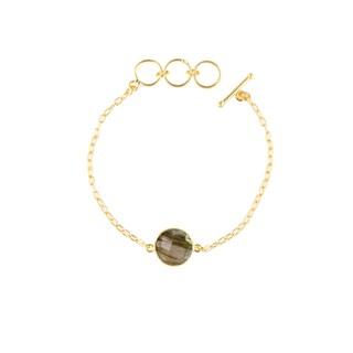 Gold Overlay Labradorite Gemstone Bracelet