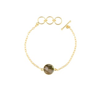 Alchemy Jewelry Handmade Ethical 22k Gold Overlay Labradorite Precious Gemstone Bracelet with Adjustable Toggle Clasp