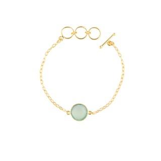Gold Overlay Peru Chalcedony Gemstone Bracelet