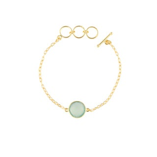 Alchemy Jewelry Handmade Ethical 22k Gold Overlay Peru Chalcedony Precious Gemstone Bracelet with Adjustable Toggle Clasp