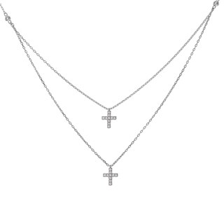 Journee Collection Sterling Silver CZ Two Strand Double Cross Pendant