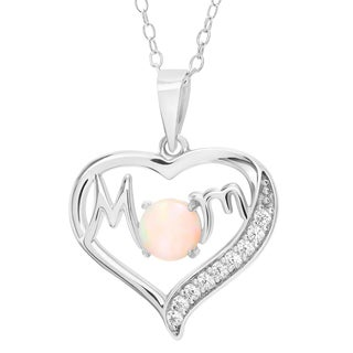 Journee Collection Sterling Silver Cubic Zirconia Opal Heart Mom Pendant