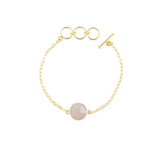 Gold Overlay Pink Chalcedony Gemstone Bracelet