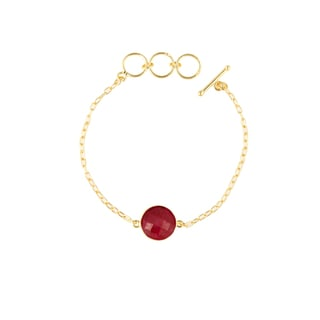 Gold Overlay Ruby Gemstone Bracelet