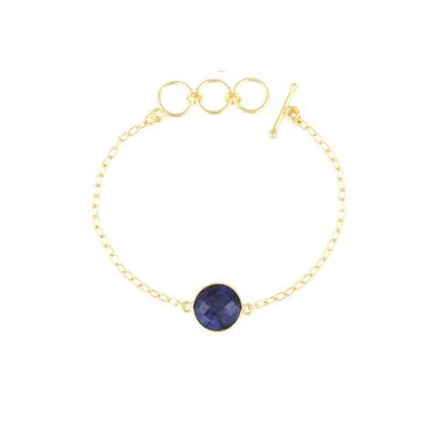 Gold Overlay Sapphire Gemstone Bracelet