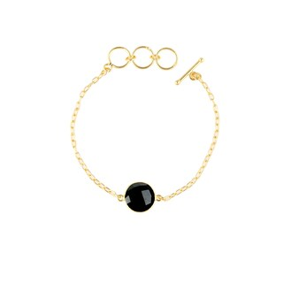 Alchemy Jewelry Handmade Ethical 22k Gold Overlay Black Onyx Precious Gemstone Bracelet with Adjustable Toggle Clasp