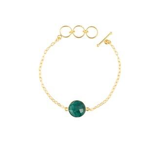 Gold Overlay Emerald Gemstone Bracelet