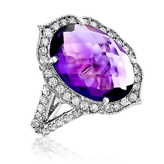 Luxurman 14k Gold 3/4ct TDW Diamond and Purple Amethyst Ring (G-H, VS1-VS2)