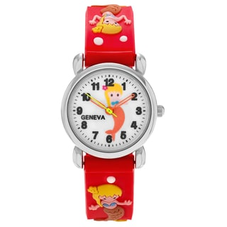 Geneva Platinum Kid's Mermaid and Seashell Design Silicone Strap Watch