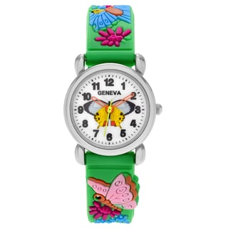 Geneva Platinum Kid's Butterfly and Flower Design Silicone Strap Watch