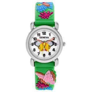 Geneva Platinum Kid's Butterfly and Flower Design Silicone Strap Watch