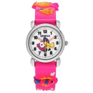 Geneva Platinum Kid's Fish and Seahorse Design Silicone Strap Watch