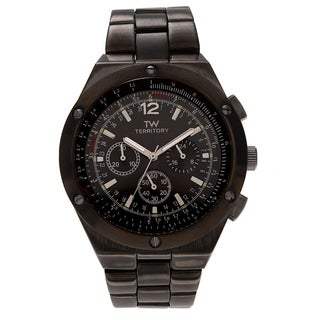Territory Men's Round Chronograph Dial Link Bracelet Watch - Black