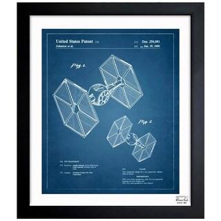 Oliver Gal 'Toy Spacecraft TIE Fighter 1980' Framed Blueprint Art
