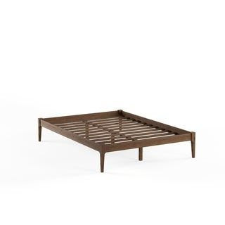 Baxton Studio Damon Mid-century Modern Walnut Finishing Solid Wood King or Queen Size Platform Bed Frame