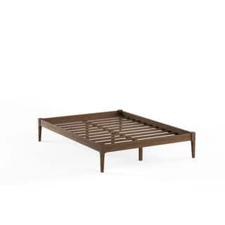 baxton studio damon mid century modern walnut finishing solid wood king or queen size platform - Mid Century Modern Bed Frame