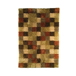 M.A.Trading Indian Hand-woven Bricks Beige/ Brown Rug (5'6 x 7'10)