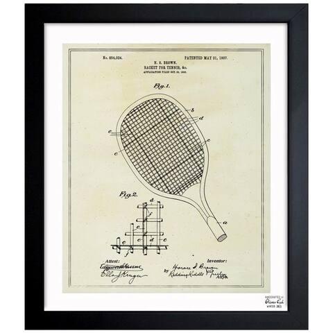 Oliver Gal 'Tennis Racket 1907' Framed Blueprint Art - Black